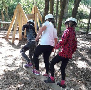 back view children walking on plank