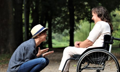 Wheelchair user and companion laughing