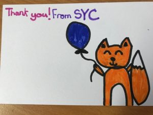 SYC thank you card drawn by child