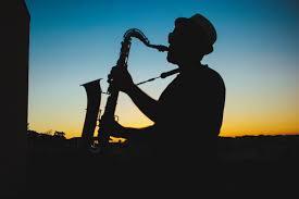 saxaphone player sunset