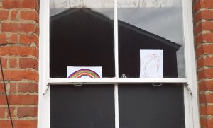 Rainbow pictures in window