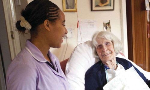 Care working supporting older lady at home