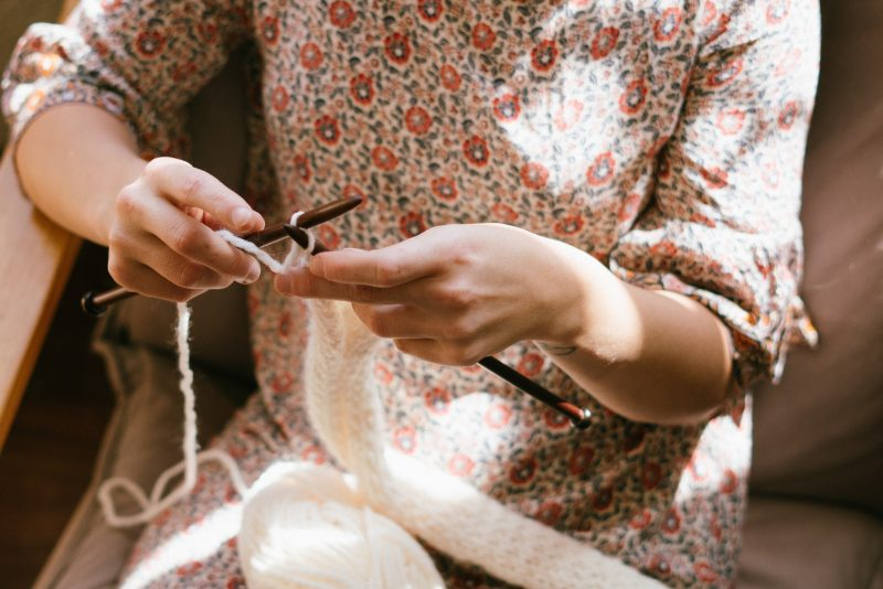 hands of woman knitting