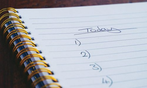 notebook with list
