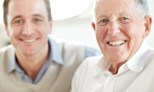 Adult son with elderly father