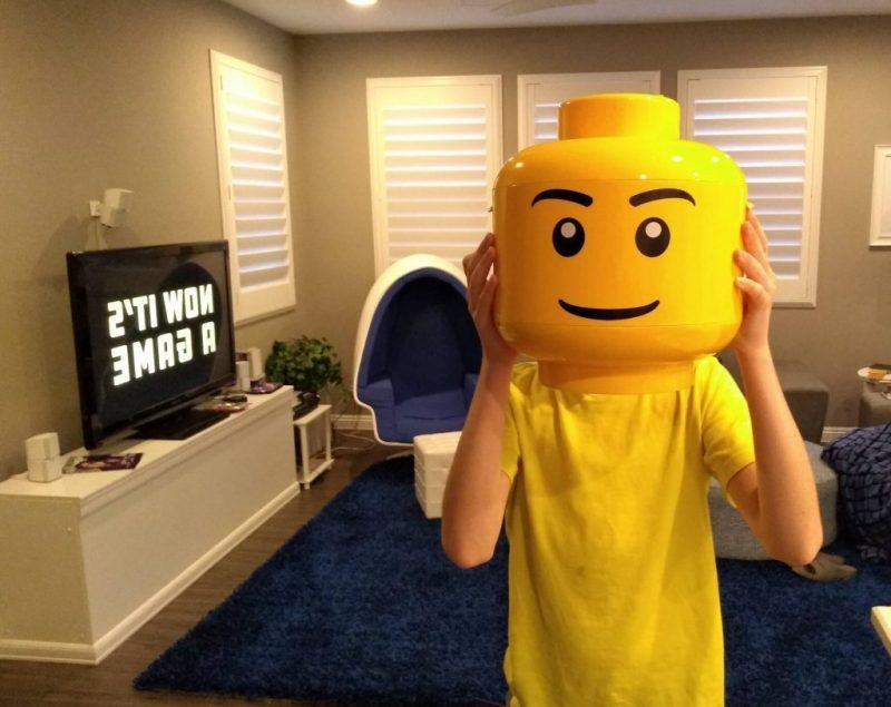 Boy with lego head