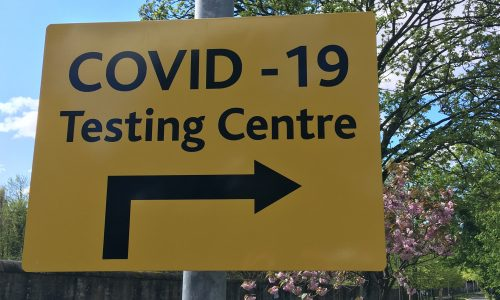 Sign saying COVID-19 Testing Centre