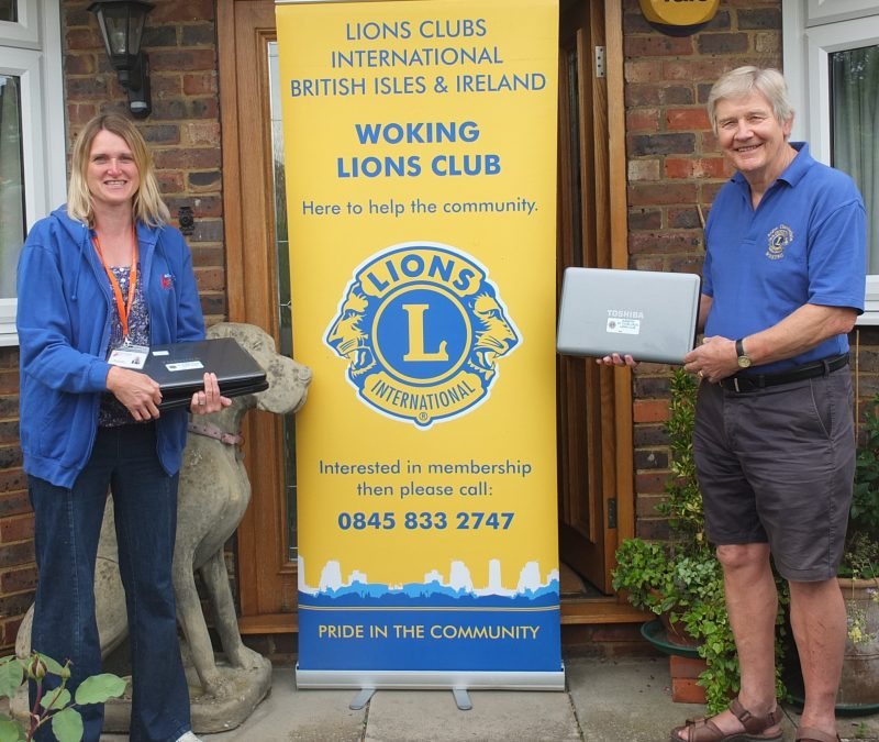 lions rotary club donating laptops