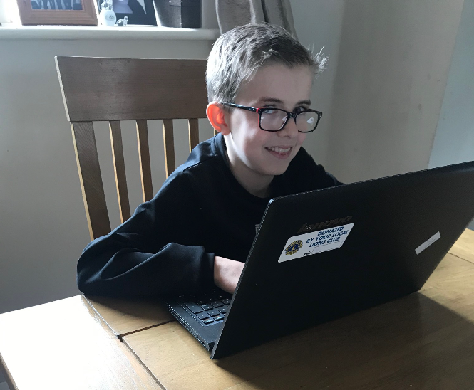 young carer with laptop