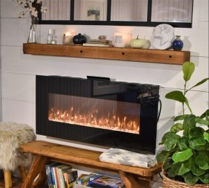 fireplace with warm fire