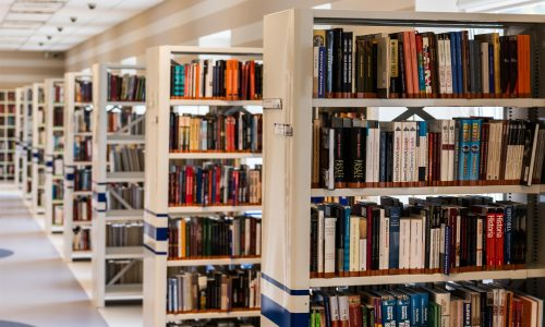 Books on a shelf in a library