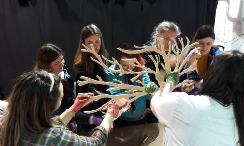 Young people working on an art project