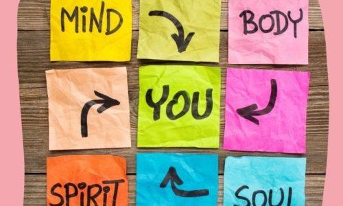 mind body spirit on post-it notes