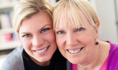Adult woman carer with mother