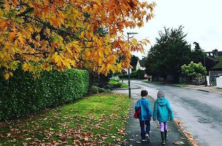 Autumn children walk to school